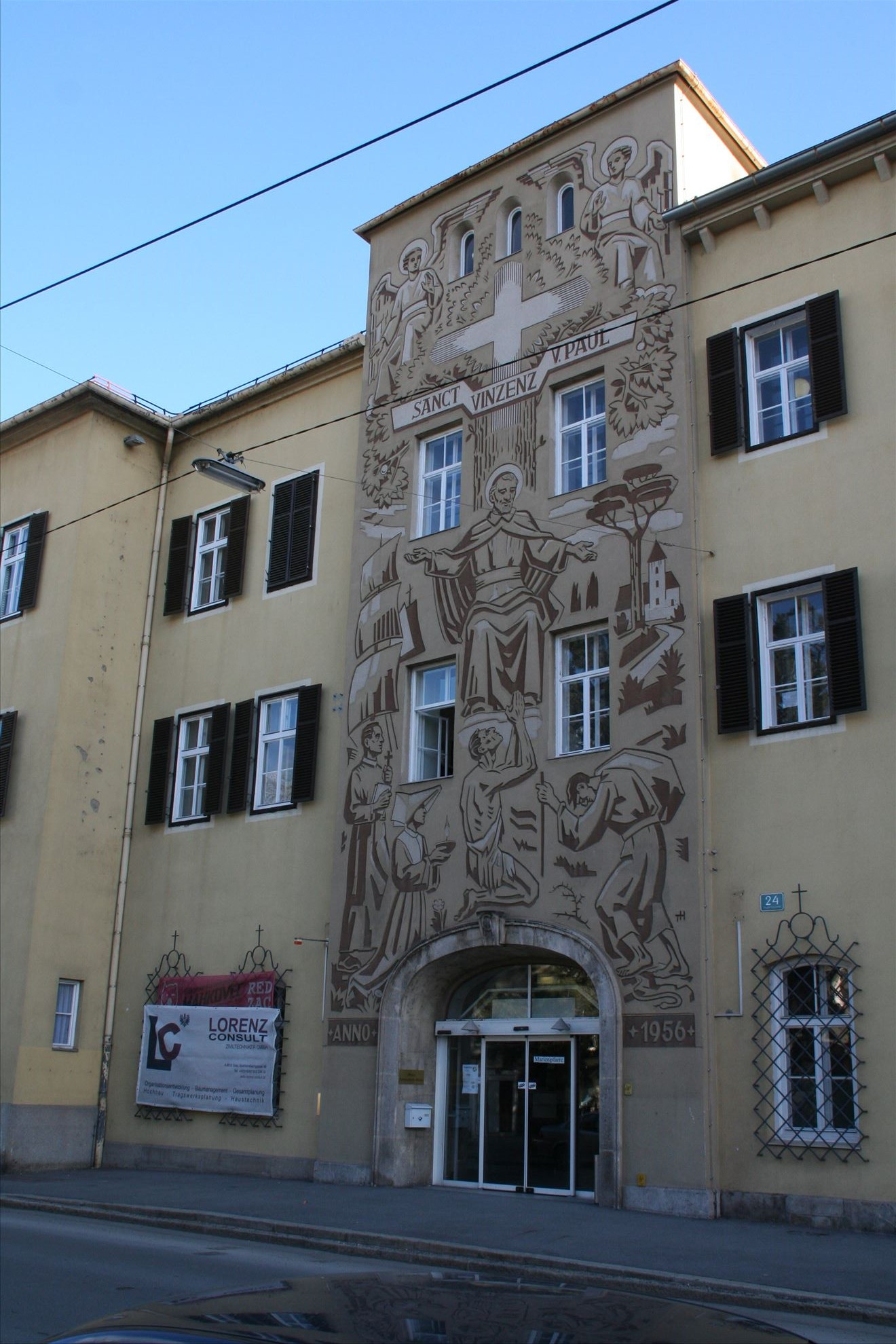 Reconstruction Mariengasse in Graz, houses of Caritas